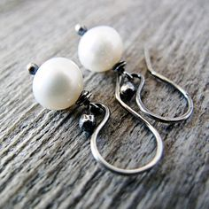 Classic Pearl Earrings Sterling Silver Antique by jFrancesDesign