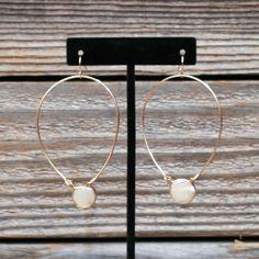 Coin Pearl Gold Hoop Fish Hook Earrings