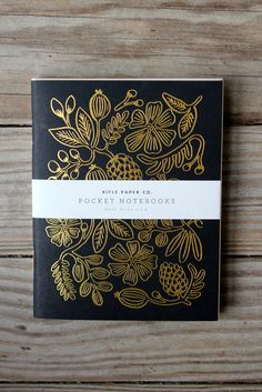 Rifel Paper Co. Pocket notebook features metallic gold foil floral design. $10 for 2.