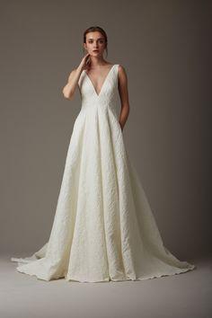 The Stream Lela Rose Wedding Dress #weddingdress #deepv