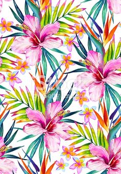 beautiful seamless pattern with hibiscus, frangipani and palm leaves. royalty-free beautiful seamless pattern with hibiscus frangipani and palm leaves stock vector art & more images of aloha - single word Art And Illustration, Vector Illustrations, Flower Wallpaper, Wallpaper Backgrounds, Iphone Wallpaper, Wallpapers, Motif Tropical, Tropical Pattern, Tropical Prints