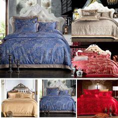 Pp azul nobre do palácio de luxo cama roupa de cama conjuntos homenagem de cetim de seda jacquard tampa do duvet folha de cama roupa ...