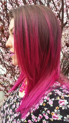 Pink, fuscia,  wild orchid,  Pravana,  hair color,  hair,  ombre