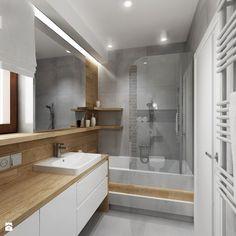 Mała łazienka z szarą cegła - Mała łazienka z oknem, styl nowoczesny - zdjęcie od All Design Agnieszka Lorenc