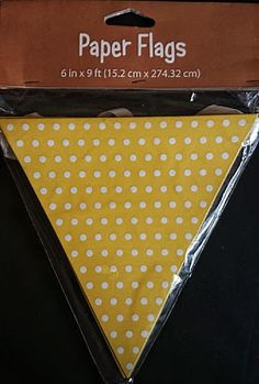 Yellow & White Polka Dot Paper Flag Bunting 9FT  Party Vintage Style Decoration.