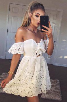 eb4133bb2f9f amazign white off shoulder dress Abiti Bianco Sporco