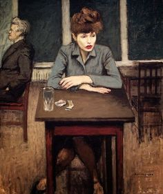 ~ Raphael Soyer ~ Russian-born American artist, 1899-1987: Cafè Scene