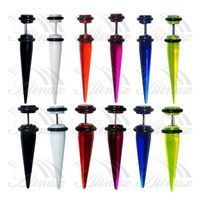 Material: Acrylic Sizes: 42mm(Length) * 8mm Colours Available: 6 Pcs Colours This fake flesh plug fi