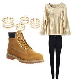 """how to wear timberlands"" by brooklynnward on Polyvore featuring Timberland, Armani Jeans, women's clothing, women, female, woman, misses and juniors"