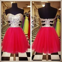Custom Cheap Ball Gown Sweetheart Beaded Short Red Prom Dresses Gowns 2016,Formal Evening Dresses Gowns, Homecoming Graduation Cocktail Party Dresses Plus size