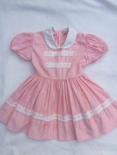 Vintage Baby Clothes, 1950's Pink Baby Girl Dress, Vintage Pink Toddler Dress