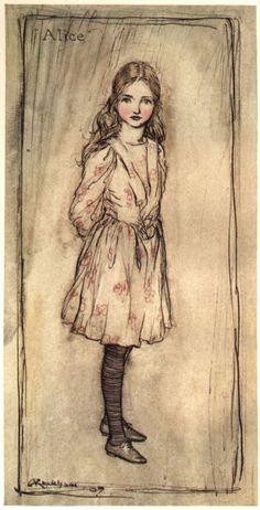 "1907 Arthur Rackham (English artist/illustrator, 1867-1939) ~Alice, Frontispiece for ""Alice in Wonderland"""