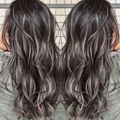 Ash Blonde Highlights On Dark Hair, Dark Brunette Hair, Blonde Hair, Dark Highlighted Hair, Brunette Hair Colors, Black Hair With Lowlights, Highlights For Dark Brown Hair, Ash Hair, Colored Highlights