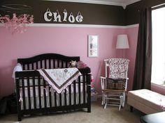 Idea for Nursery...Chairrail up top instead of down below.