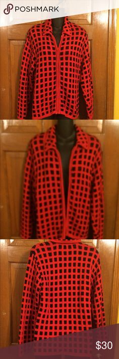 EUC, Gorgeous Red & Black Checked EUC, Gorgeous Red & Black Checked, zip up front, Very Stylish. LISA INTERNATIONAL Sweaters