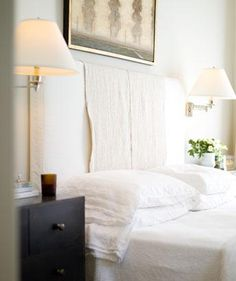White Slipcovered Headboard - Design photos, ideas and inspiration. Amazing gallery of interior design and decorating ideas of White Slipcovered Headboard in bedrooms, girl's rooms by elite interior designers. Pretty Bedroom, Dream Bedroom, Home Bedroom, Bedroom Decor, Bedroom Sconces, Master Bedroom, Bedrooms, Headboard Cover, White Headboard