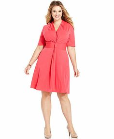 NY Collection Plus Size Short-Sleeve Knotted A-Line Dress. You can never go wrong with a wrap or faux-wrap dress.