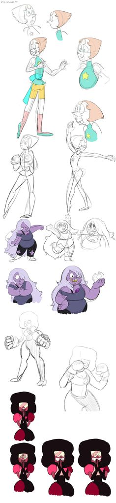 Gems practice <<< They got the rarest face ever. The smirky Pearl face, seen only in the premiere episode of Sugilite when Amethyst points it out. God, I love that face. Steven Universe, Universe Art, Garnet Cosplay, Cultura Pop, Malachite, Drawing Reference, Illustration, Nerdy, Otaku