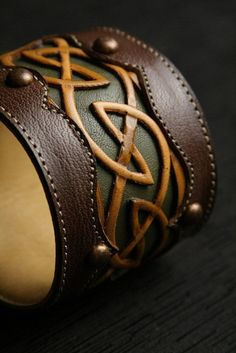 """Leather Cuff, Leather Bracelet: leather cuff with a celtic design """"Celtic Dara Cuff"""" from Ethos Custom Brands on www.goodsmiths.com"""