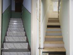 """la scala di """"recupero"""": i gradini di cemento sono stati rivestiti con il legno proveniente da vecchie assi di cantiere"""