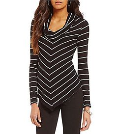 IN Studio Cowl Neck Long Sleeve Stripe Top #Dillards