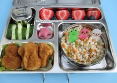 Bento School Lunches: Tri-color Pearl Couscous and Nuggets#Planetbox