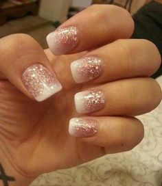 Time for Glitter Party Nails. Glitter nails that fade to white french tip manicure. Glitter French Manicure, French Manicure Designs, Glitter Nails, Pink Glitter, French Manicures, Pink Sparkly, French Pedicure, Pale Pink, Pink White