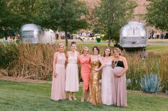 Bridesmaids in mismatched pink dresses   Danielle & Mark's Saddlerock Ranch Wedding   Sweet Little Photographs