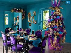 Blue And Purple Christmas Tree Decorations Purple Christmas Tree Decorations, Elegant Christmas Trees, Christmas Ornaments, Furniture Sets Design, Turquoise Christmas, Gold Christmas, Christmas Ideas, Merry Christmas, Purple Bedrooms