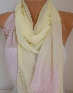 Patel TonesYellow & Pink Cotton Scarf SoftFall Shawl