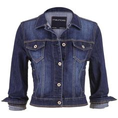 maurices Denim Jacket In Dark Wash With Four Pockets found on Polyvore featuring outerwear, jackets, tops, coats, dark sandblast, cotton jean jacket, blue denim jacket, cotton jacket, long denim jacket and button jacket