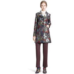 Women's Valentino Floral Silk Brocade A-Line Peacoat