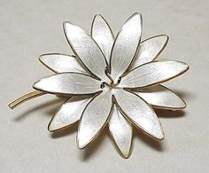 Vintage Sterling Silver Flower Brooch NORWAY Guilloche Enamel Gold from arnoldjewelers on Ruby Lane