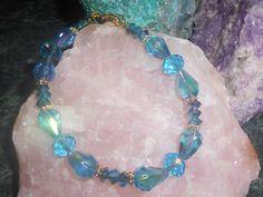 Blue Crystal Beaded Bracelet by TrendyCharm on Etsy