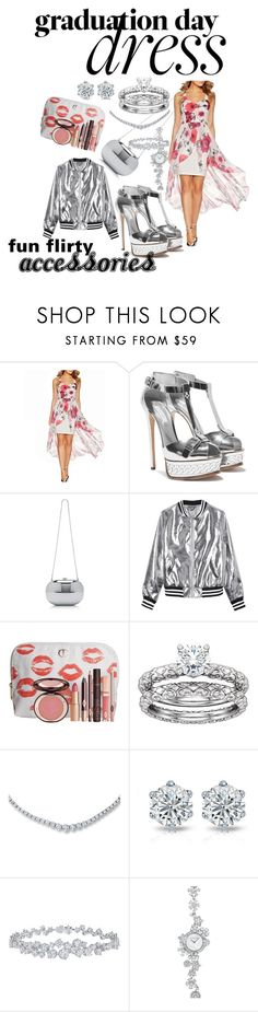 """""""pink floral sheer flyaway, paired with chrome!"""" by caroline-buster-brown ❤ liked on Polyvore featuring Dorothy Perkins, Sans Souci, Charlotte Tilbury, Harry Winston and Graduation"""