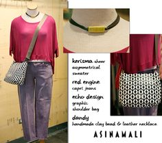 Kerisma asymmetrical sweater, Red Engine purple capri jeans, and Dandy handmade clay and leather necklace