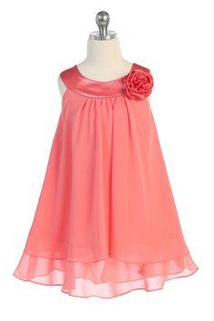 Coral Satin bib necklin & chiffon A-line flower girl dress