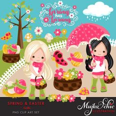 Spring & Easter Cliparts for Girls. Beautiful spring characters, birds, bugs, flowers, spring shower