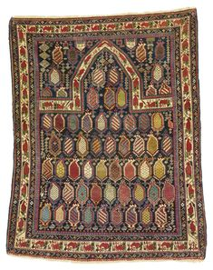 A Shirvan Marasali prayer rug, East Caucasus,  some silk wefts,  approximately 4ft. 4in. by 3ft. 7in. (1.32 by 1.09m.) dated 1273 (1856)