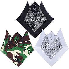 0d0e84150336 QUMAO 3pcs Bandanas Paisley Multicolore 100% Coton Bandana Cheveux Bandeau  Bandannas Foulard Fichu Mouchoir Echarpe