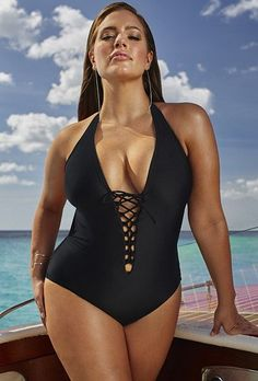 Plus Size Swimsuit - Ashley Graham x swimsuitsforall Secret Agent Black Swimsuit