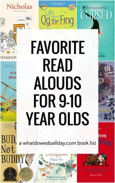 Best childrens books to read aloud to 9 year olds and 10 year olds. These funny books are charming and not at all scary. The book list contains a mix of classics, foreign titles and newly published kids books. #readaloud #readalouds #kidlit #booklist #childrensbooks #whatwereadallday