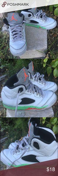 Nike Air Jordan 5 V White Orange Green Hightop Great condition of these Retro Nike Air Jordan V 5 440889-115. White Green Orange Gray. Some minor wear. Originally $95! Size 1Y. Air Jordan Shoes Sneakers