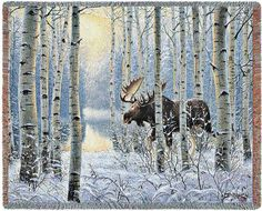 $49.99 Moose Throw with a staunch brown caribou moves slowly through the birch forest. Newly fallen snow blankets the forest's floor. This realistic nature throw will be sure to delight the nature lover in you. http://www.delectably-yours.com/Cabin-Lodge-Throw-Blankets-C60.aspx