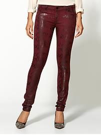 3ed618d8cb3aa The printed pant in oxblood red is hot for fall. 7 Jeans