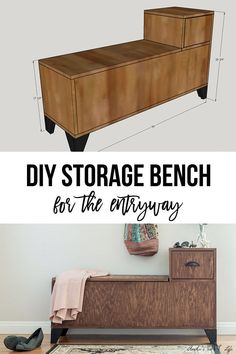 For stroller and umbrellas Easy DIY entryway Storage bench. Perfect for small spaces! How to build this easy storage bench with step by step tutorial and printable plans. Diy Entryway Storage Bench, Wooden Storage Bench, Entryway Bench Storage, Bench With Shoe Storage, Diy Bench, Easy Storage, Diy Storage Table, Entryway Ideas, Bench Seat