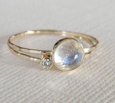 Rainbow Moonstone Ring Set, Moissanite Ring Set, 14k Gold Rings, Engagement Ring, Unique Moissanite Ring, Rose Gold Ring, 14k Gold Rings by Luxuring on Etsy