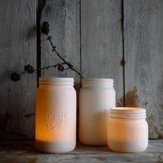 Nice porcelain from Cecilie Haaland, Norgesglass Mason Jar Lighting, Mason Jar Lamp, Homemade Lamps, Recycled Jars, Painted Mason Jars, Diy Interior, Centerpiece Decorations, Interior Inspiration, Lofoten