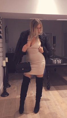 Faux Fur Jacket Nude Dress Knee High Boots http://www.illustriouslybossy.com/2016/02/faux-fur_28.html