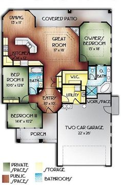 This mediterranean design floor plan is 1763 sq ft and has 3 bedrooms and has 2 bathrooms. Modern Floor Plans, Home Design Floor Plans, Contemporary House Plans, Contemporary Bathrooms, Modern House Design, Ranch House Plans, Dream House Plans, Small House Plans, House Floor Plans